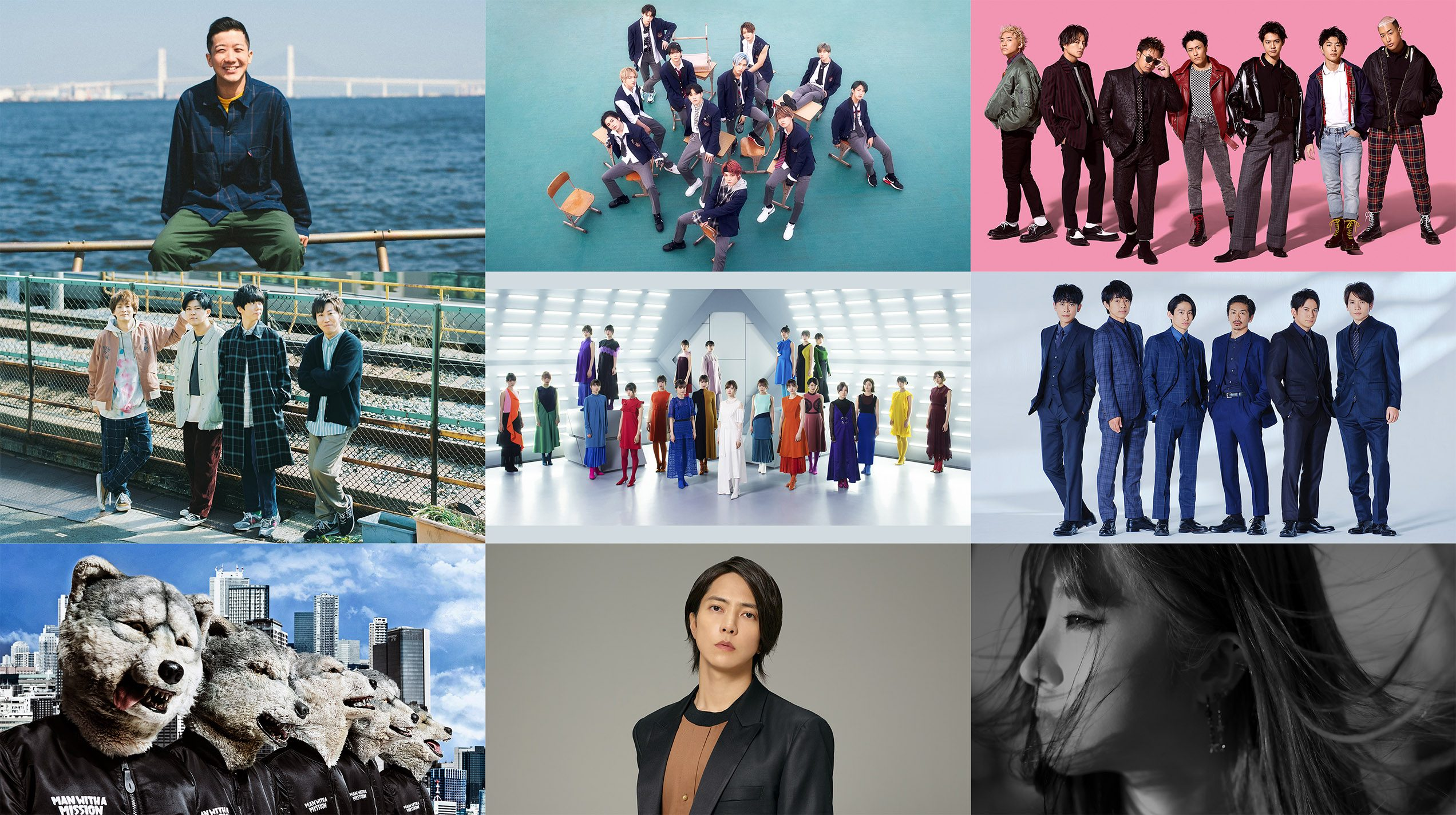 『HEY!HEY!NEO! MUSIC CHAMP』に出演する(左上から)瑛人、JO1、GENERATIONS from EXILE TRIBE、sumika、乃木坂46、V6、MAN WITH A MISSION、山下智久、LiSA