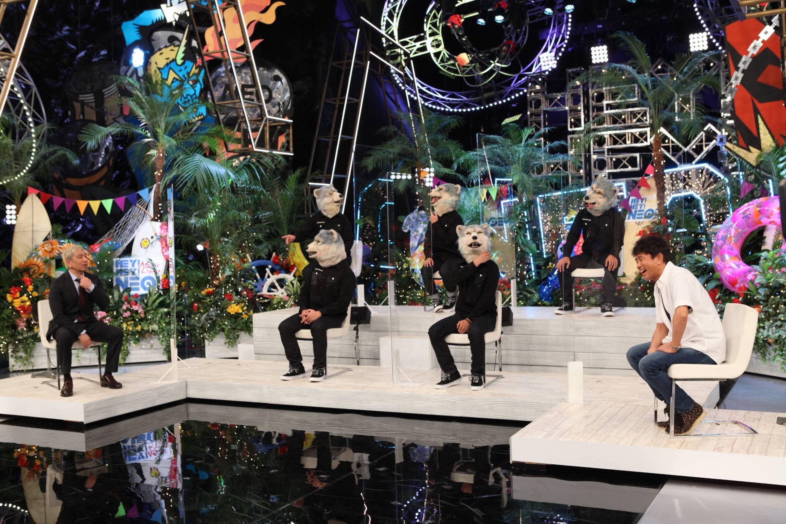 『HEY!HEY!NEO! MUSIC CHAMP』に出演のダウンタウンとMAN WITH A MISSION